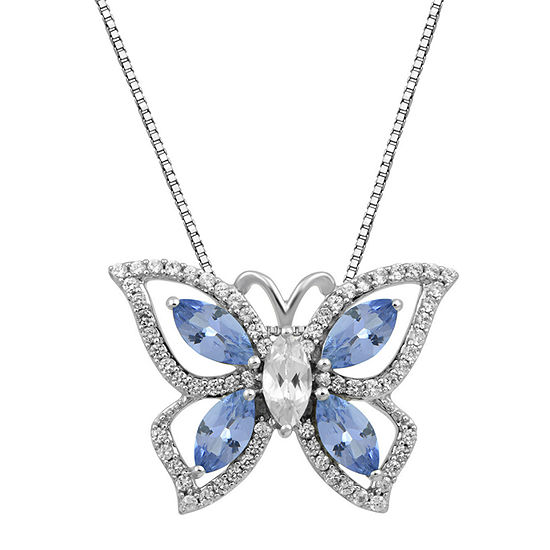 Womens Genuine Blue Tanzanite Sterling Silver Butterfly Pendant