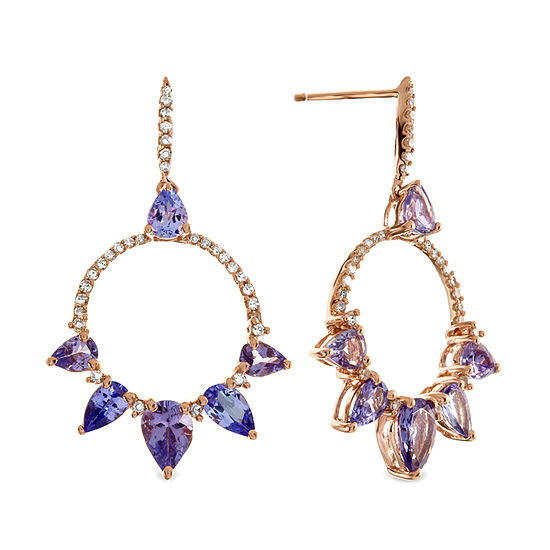 1/2 CT. T.W. Genuine Purple Tanzanite 10K Rose Gold Drop Earrings