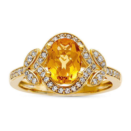 Womens 1/4 CT. T.W. Genuine Yellow Citrine 10K Gold Cocktail Ring