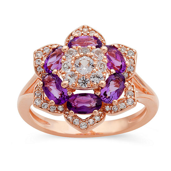 Womens Genuine Purple Amethyst 14K Rose Gold Over Silver Flower Cocktail Ring