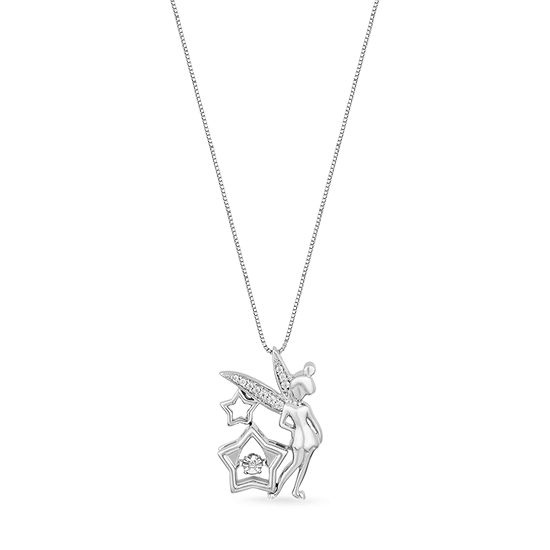 Enchanted Disney Fine Jewelry Womens Diamond Accent Genuine White Sterling Silver Tinker Bell Pendant Necklace