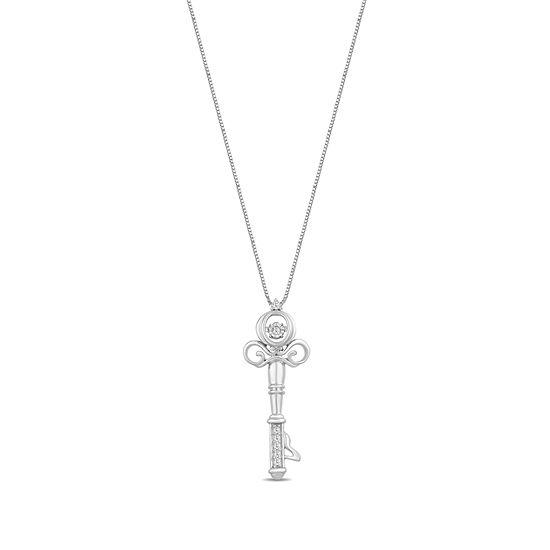 Enchanted Disney Fine Jewelry Womens Diamond Accent Genuine White Diamond Sterling Silver Pendant