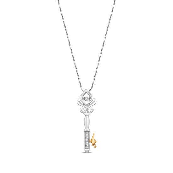 Enchanted Disney Fine Jewelry Womens Diamond Accent Genuine White Diamond 14K Gold Over Silver Sterling Silver Pendant
