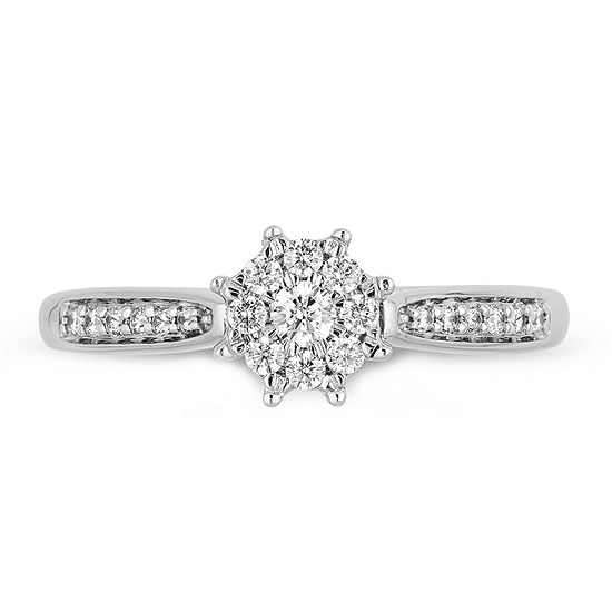 Enchanted Disney Fine Jewelry Womens 1/4 CT. T.W. Genuine White Diamond 10K White Gold Disney Princess Engagement Ring