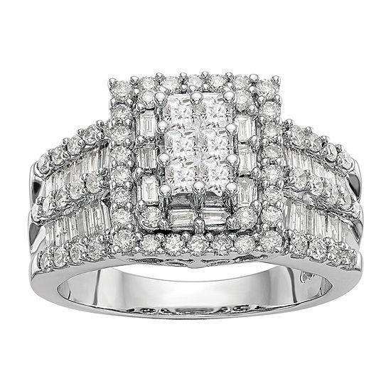 Womens 1 1/2 CT. T.W. Genuine White Diamond 14K White Gold Cluster Engagement Ring