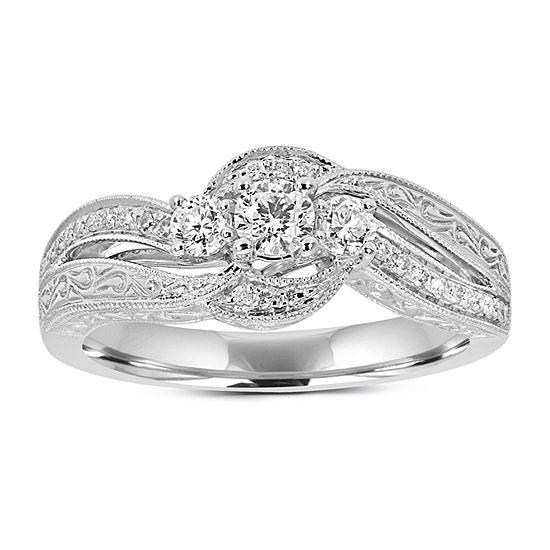 Love Lives Forever Womens 1/2 CT. T.W. Genuine White Diamond 14K White Gold Engagement Ring