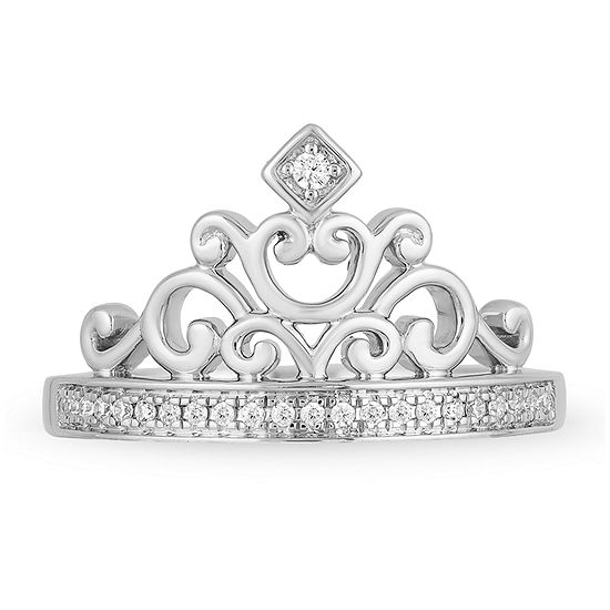 Enchanted Disney Fine Jewelry Womens 1/10 CT. T.W. Genuine White Diamond Sterling Silver Disney Princess Cocktail Ring