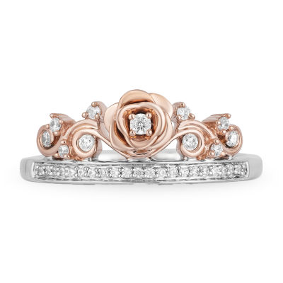 Enchanted Disney Fine Jewelry Womens 1/6 CT. T.W. Genuine White Diamond Flower Beauty and the Beast Cocktail Ring