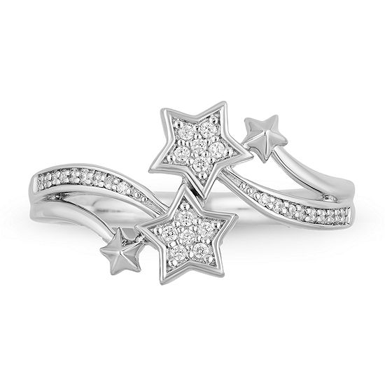 Enchanted Disney Fine Jewelry Womens 1/10 CT. T.W. Genuine White Diamond Sterling Silver Star Disney Fairies Bypass  Cocktail Ring