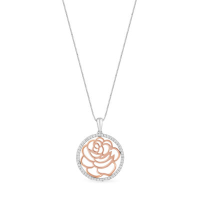 "Enchanted Disney Fine Jewelry 1/5 C.T. T.W. Diamond Sterling Silver With 14K Rose Gold Accent ""Belle"" Rose Disc Pendant Necklace"