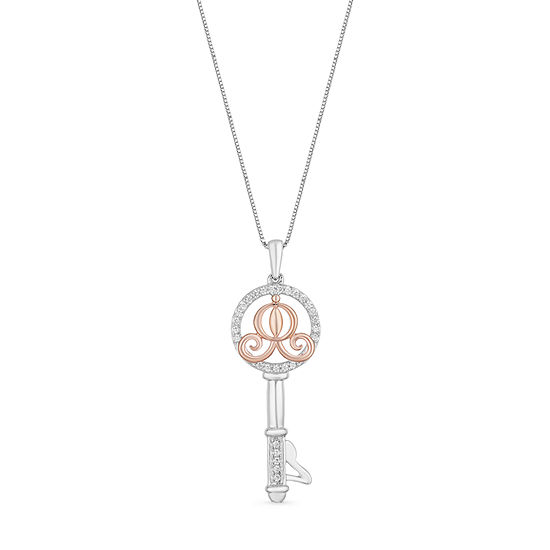 Enchanted Disney Fine Jewelry 1/10 CT. T.W. White Diamond Sterling Silver & 14K Rose Gold Over Silver Pendant Necklace