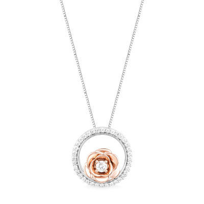 Enchanted Disney Fine Jewelry Womens 1/5 CT. T.W. Genuine White Diamond Flower Beauty and the Beast Pendant Necklace
