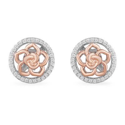 Enchanted Disney Fine Jewelry 1/4 CT. T.W. Genuine White Diamond 10mm Beauty and the Beast Stud Earrings