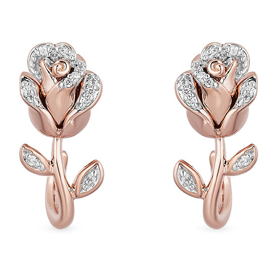 Enchanted Disney Fine Jewelry 1/10 CT. T.W. Genuine White Diamond 14K Rose Gold Over Silver Flower Beauty and the Beast Drop Earrings