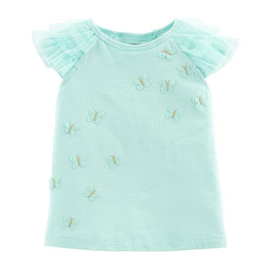 Carter's Girls Round Neck Short Sleeve Applique T-Shirt-Baby