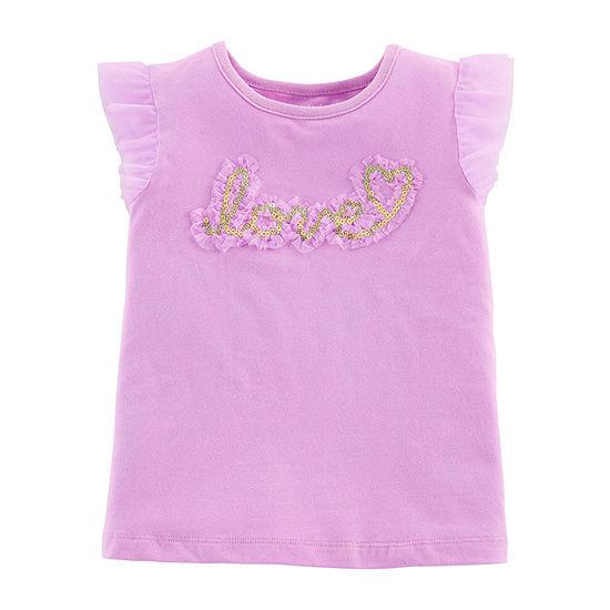 Carter's Girls Round Neck Short Sleeve Embellished Applique T-Shirt-Baby
