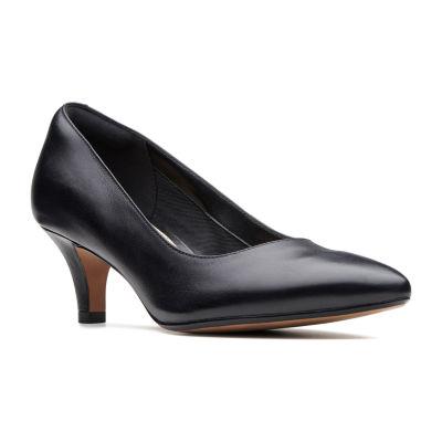 Clarks Womens Linvale Jerica Pumps Slip-on Pointed Toe Kitten Heel