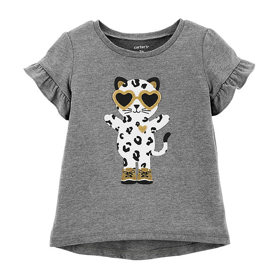 Carter's Girls Round Neck Short Sleeve Graphic T-Shirt - Baby