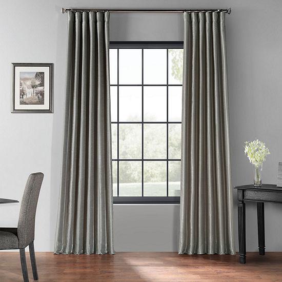 Exclusive Fabrics & Furnishing Blackout Vintage Textured Faux Dupioni Curtain Panel