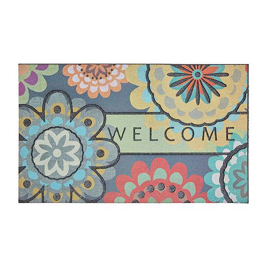 Mohawk Home Recycled Rubber Dahlia Rectangular Outdoor Doormat
