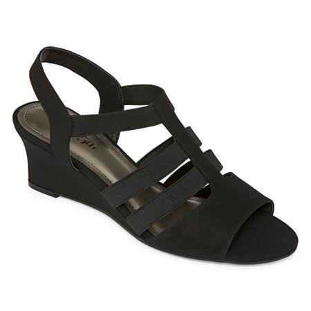 east 5th Womens Jaylee Wedge Sandals, 9 Medium, Black