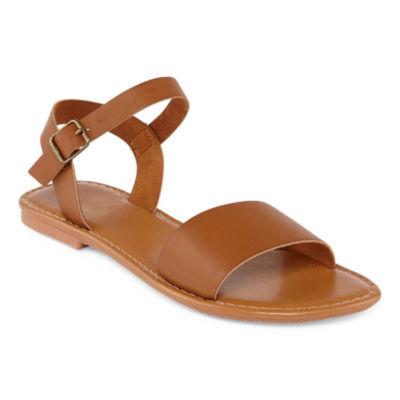 Arizona Womens Aurora Ankle Strap Flat Sandals