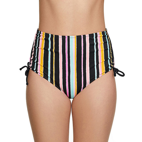 Arizona Striped High Waist Swimsuit Bottom-Juniors