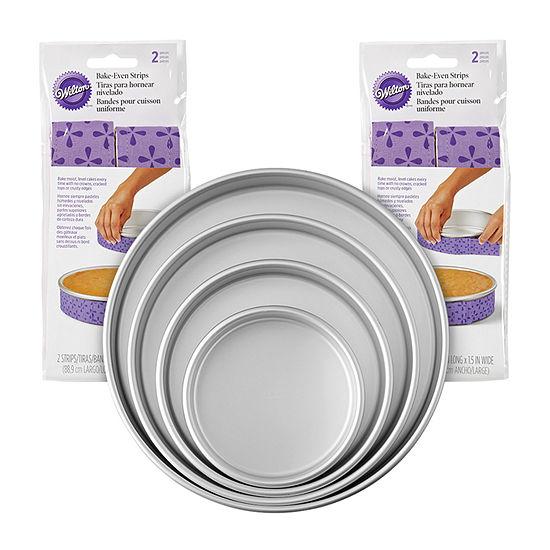 Wilton 8-pc. Bake-Even Strips And Cake Pan Set