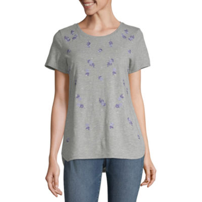 Liz Claiborne Short Sleeve Embroidered Crew Neck Tee - Tall