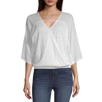 a.n.a Womens V Neck 3/4 Sleeve Wrap Shirt