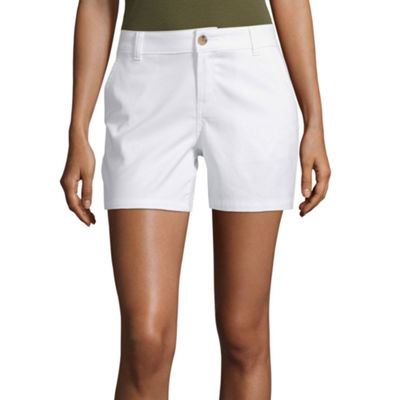 "Love Now Wear Now: St. John's Bay Embroided Blouse and ANA 5"" Twill Midi Short"