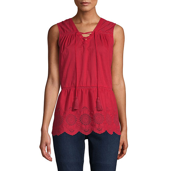 St. John's Bay Womens V Neck Sleeveless Tank Top