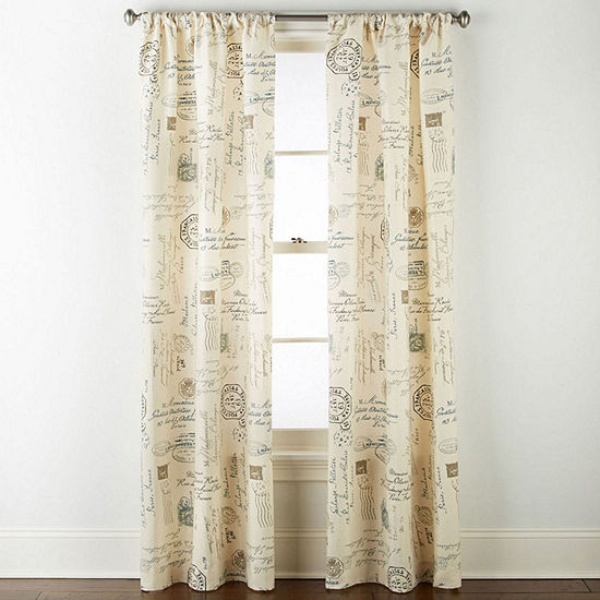 Home Expressions Script Light-Filtering Rod-Pocket Curtain Panel
