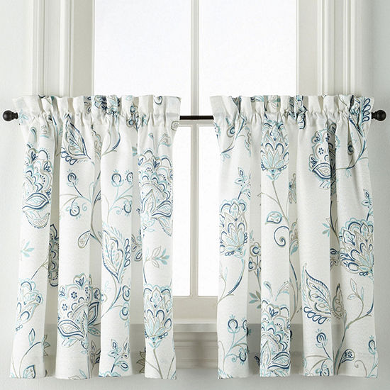 Liz Claiborne Quinn Jacobean Rod Pocket Window Tiers (Set of 2)