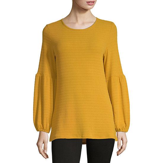 Liz Claiborne Womens Round Neck Long Sleeve Knit Blouse
