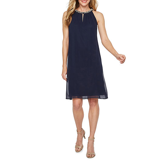 S. L. Fashions Sleeveless Beaded Neckline Shift Dress