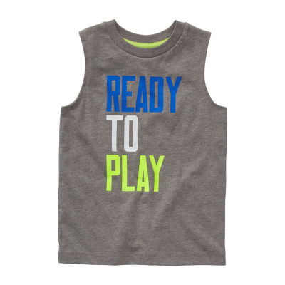 Okie Dokie Toddler Boys Crew Neck Sleeveless Muscle T-Shirt