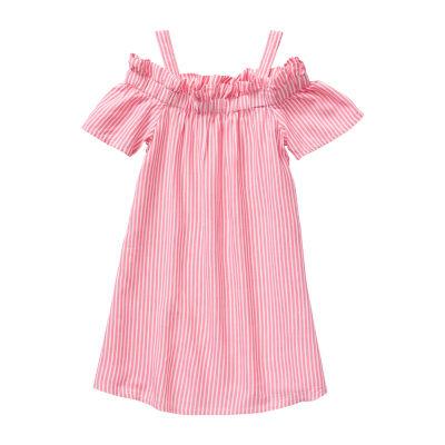 Peyton & Parker - Toddler Girls Short Sleeve Cold Shoulder Sleeve Shift Dress