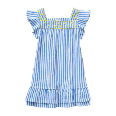 Okie Dokie Toddler Girls Sleeveless Cap Sleeve Shift Dress