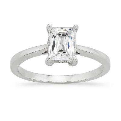 Diamonart Womens 1/2 CT. T.W. White Cubic Zirconia Sterling Silver Round Engagement Ring