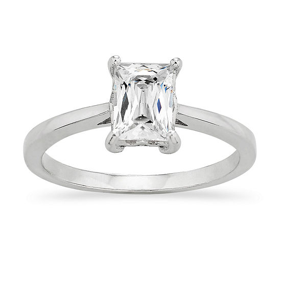 DiamonArt® Womens 1/2 CT. T.W. White Cubic Zirconia Sterling Silver Round Engagement Ring