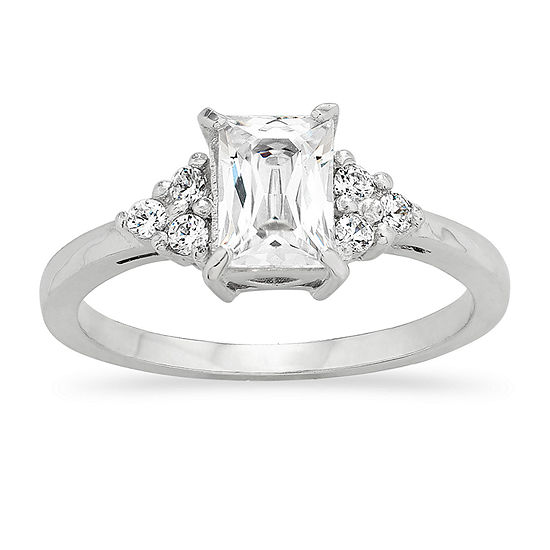 Diamonart Womens 1/2 CT. T.W. White Cubic Zirconia Sterling Silver Round 3-Stone Engagement Ring