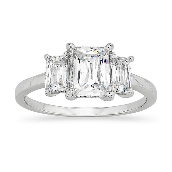 DiamonArt® Womens 1 CT. T.W. White Cubic Zirconia Sterling Silver Round 3-Stone Engagement Ring