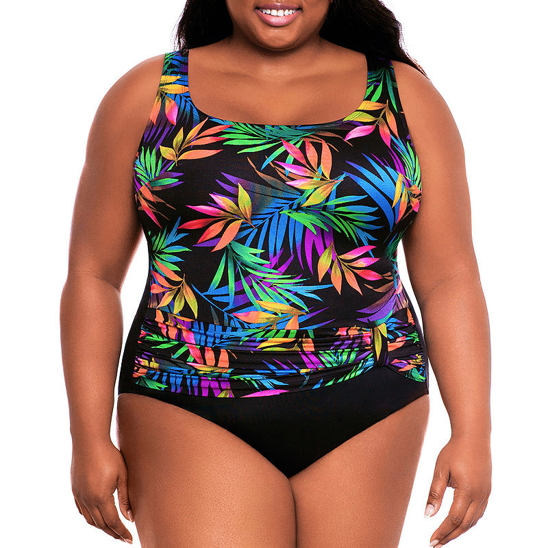 Vintage Bathing Suits | Retro Swimwear | Vintage Swimsuits Robby Len By Longitude Leaf One Piece Swimsuit Plus $55.44 AT vintagedancer.com