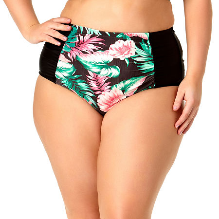 Allure By Img High Waist Bikini Swimsuit Bottom Juniors Plus, 0x , Black