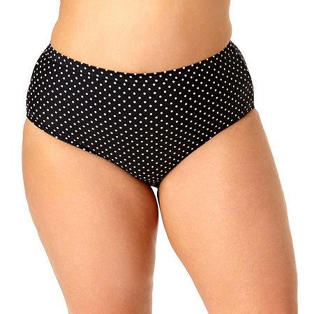 Allure By Img Dots High Waist Bikini Swimsuit Bottom Juniors Plus, 0x , Black
