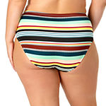 Allure By Img Striped High Waist Bikini Swimsuit Bottom Juniors Plus
