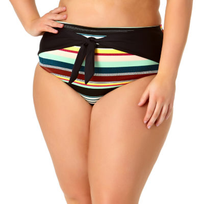 Allure By Img Striped High Waist Swimsuit Bottom Juniors Plus