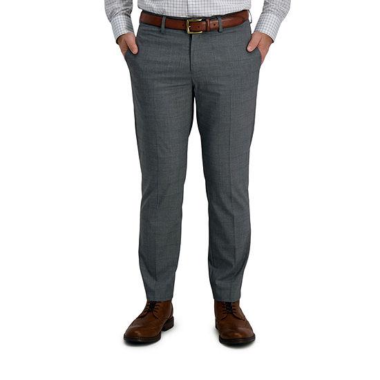 Haggar Signature Mens Windowpane Stretch Classic Fit Suit Pants