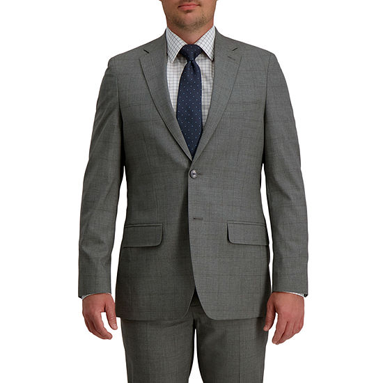 Haggar Signature Mens Windowpane Stretch Regular Fit Suit Jacket